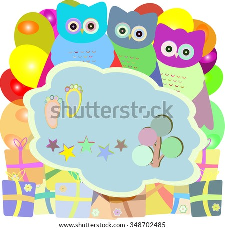 cute owl holiday card with gift boxes - baby boy arrival announcement vector  - stock vector