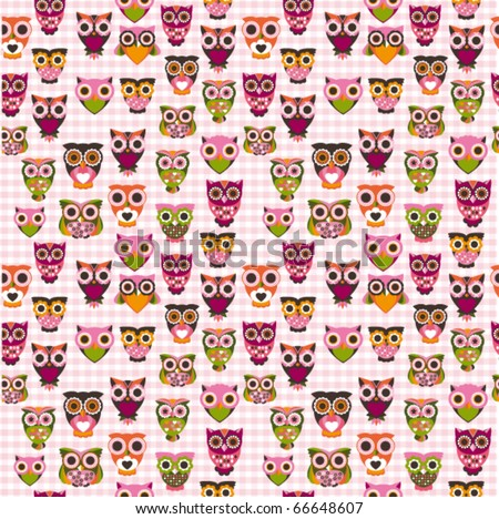 Cute owl illustration pattern in vector for kids - stock vector