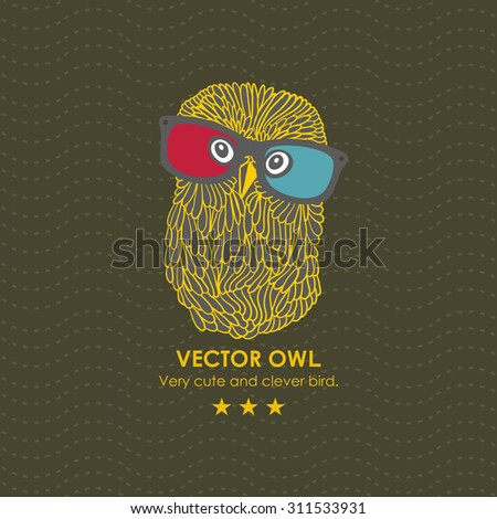 Cute owl in the 3D cinema. Vector illustration. - stock vector