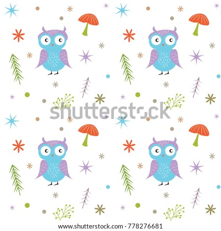 Cute owl mushroom tree stars colorful stock vector 778276681 cute owl mushroom tree and stars colorful seamless pattern ideal for kids voltagebd Gallery