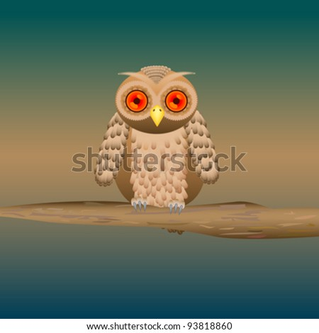 cute owl on a branch illustration - stock vector