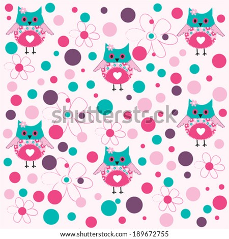 cute owl pattern background vector illustration - stock vector