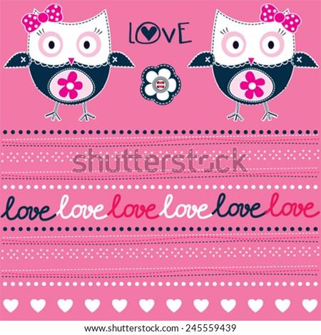 cute owl pattern love card vector illustration - stock vector
