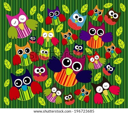 Cute Owl Pattern Vector - stock vector