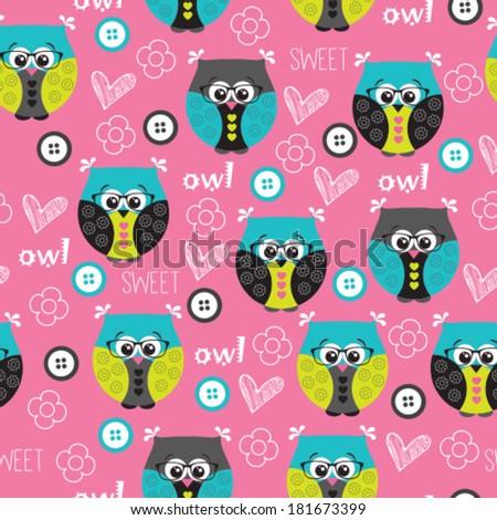 cute owl pattern vector illustration - stock vector