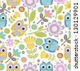 cute owl seamless pattern - stock vector