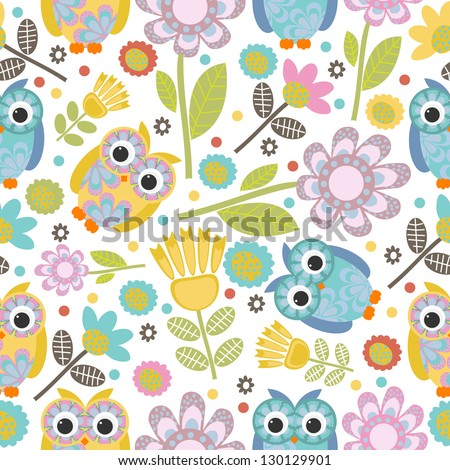 cute owl seamless pattern