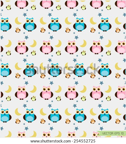 cute owl  seamless pattern background vector (EPS 10) - stock vector
