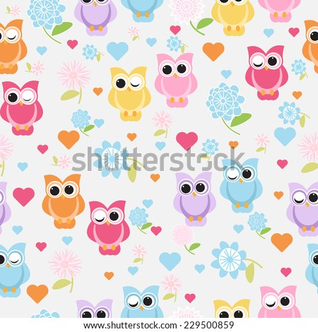 cute owl seamless pattern. vector