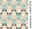 Cute owl seamless pattern with native elements - stock vector