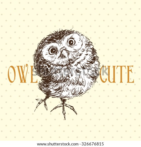 Cute owl standing and looking - stock vector