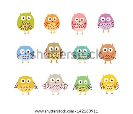 cute owl vector - stock vector