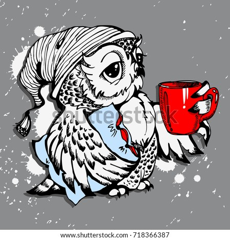 cute owlvector owlcartoon birdtshirt design owl stock