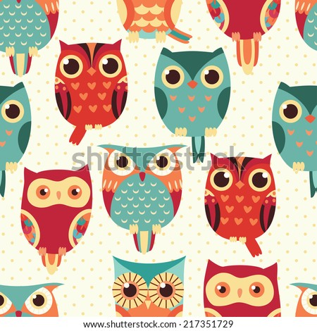 Cute owl vector seamless pattern.. - stock vector