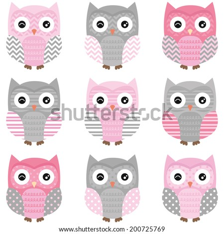 Cute Owl vector set - Illustration - stock vector