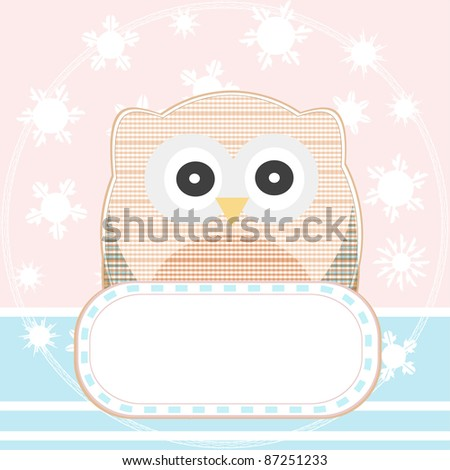 cute owl with a blank empty sign. vector background - stock vector