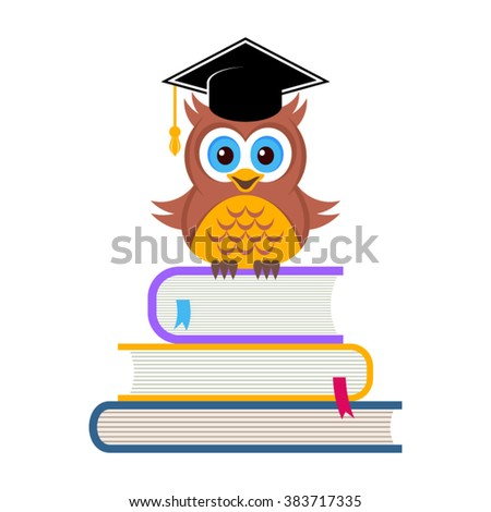 Cute owl with graduation hat sitting on books - stock vector