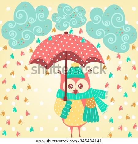 Cute owl with umbrella in the rain - stock vector