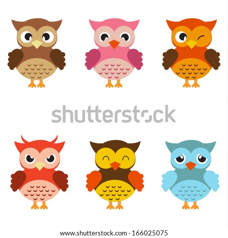 Cute  owls - stock vector