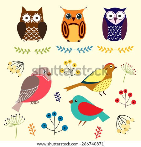 Cute owls and birds. - stock vector