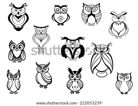 Cute owls and owlets set isolated on white background in cartoon style, for tattoo, wildlife and mascot design - stock vector
