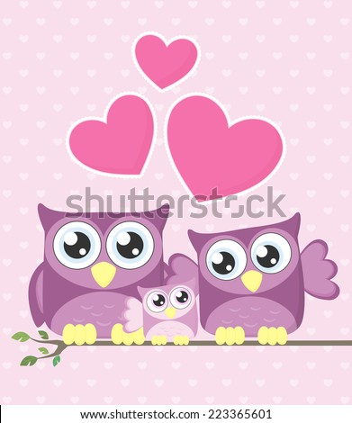 cute owls couple with baby owl sitting on a branch - stock vector