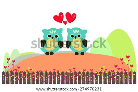 cute owls couple with love heart - stock vector