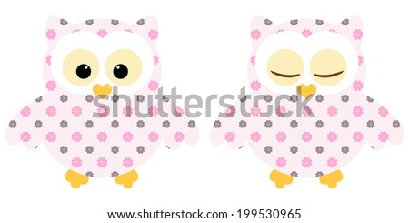 Cute owls. Illustration of pair of pink owls with flower pattern. Sleeping and not sleeping owls. Vector image  - stock vector