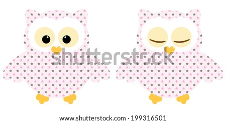 Cute owls. Illustration of pair of pink owls with star pattern. Sleeping and not sleeping owls. Vector image  - stock vector
