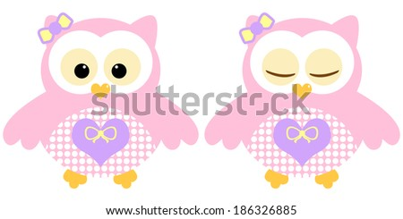Cute owls. Illustration of pair of rose owls. Sleeping and not sleeping owls. Vector image - stock vector