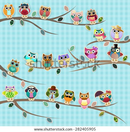 Cute Owls on Branches Vector - stock vector