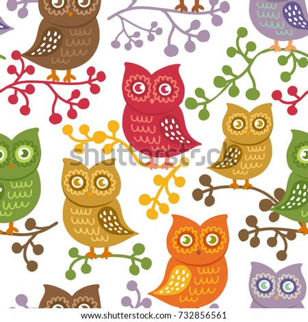 Cute owls on white vector seamless stock vector 732856561 cute owls on white vector seamless pattern with hand drawn birds colorful bright owls voltagebd Gallery