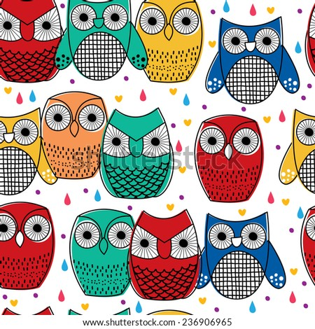 cute owls seamless wallpaper - stock vector