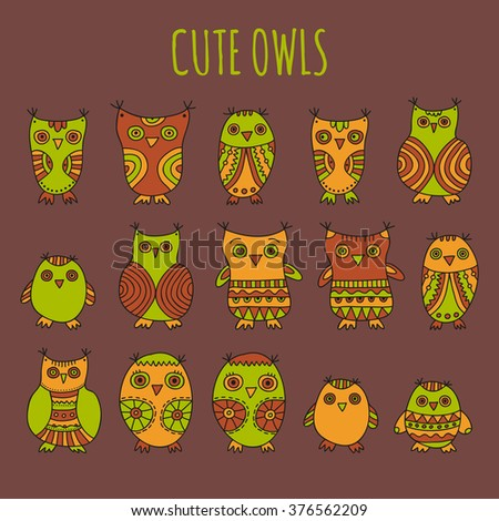 Cute Owls vector illustration. Set of bright cartoon owls and owlets on a brown background