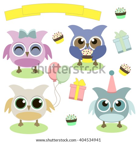 Cute owls with balloons and cake and gift box - stock vector