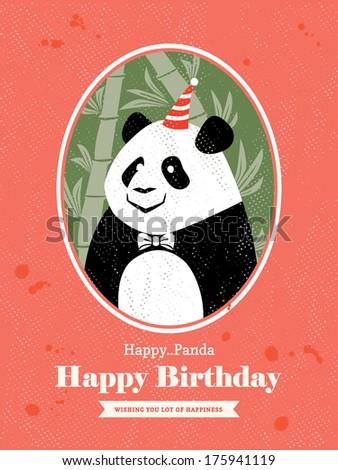 Cute Panda Animal Cartoon Birthday card design - stock vector