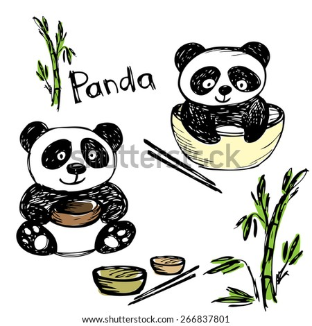 Cute panda eating ,bamboo, chopsticks, hand drawing, vector - stock vector