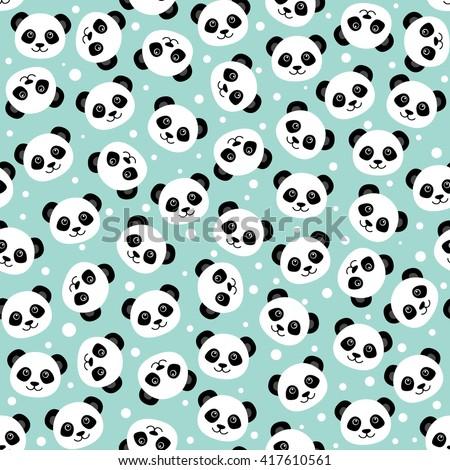 Seamless Pattern Panda Cute Panda Face Stock Vector 617998853 ...