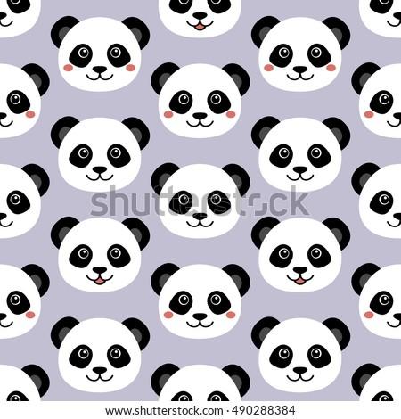 Cute Panda Face Seamless Cartoon Wallpaper