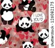 Cute Panda falls in love / Romantic seamless wallpaper - stock vector