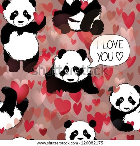 Cute Panda falls in love / Romantic seamless wallpaper - stock vector