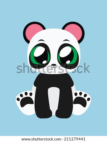 Cute Panda flat illustration art - stock vector