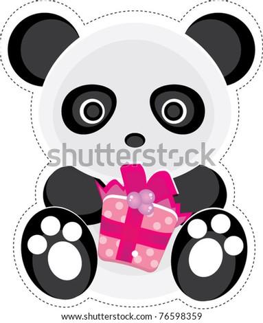 Cute panda holding a present design - stock vector