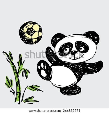 Cute Panda plays ball, hand drawing, vector - stock vector
