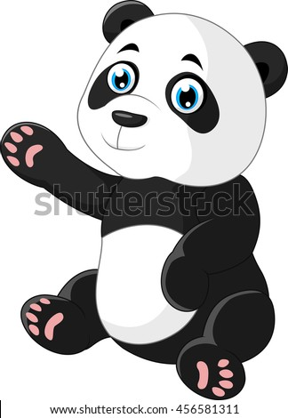 Cute panda sitting cartoon waving hand