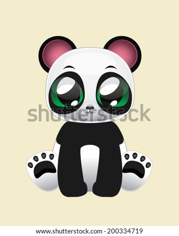Cute Panda Vector Illustration Art - stock vector