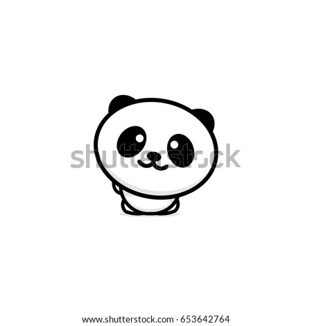 cute panda welcomes waving his hand vector illustration baby bear logo new design line