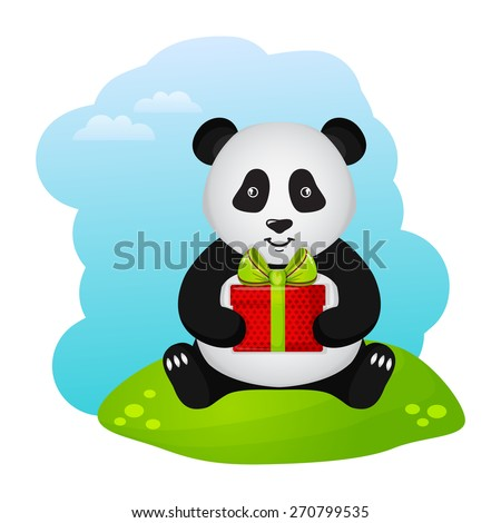 Cute panda with gift box. Vector illustration for a birthday or other holiday. - stock vector