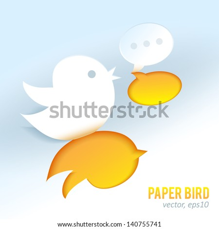Cute paper bird with speech bubble