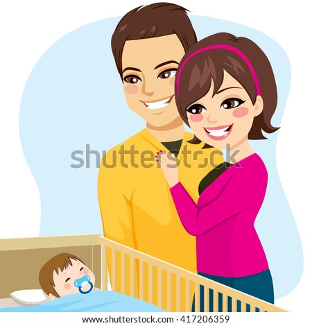 Cute parents couple watching little baby boy sleeping peacefully in crib with pacifier - stock vector